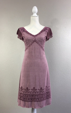 Plum Embroidered Dress