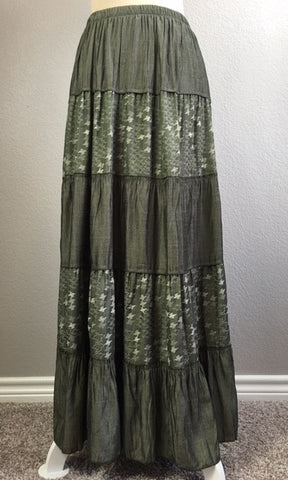 Green Peasant/Bohemian Skirt