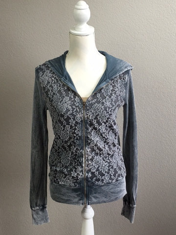 Lacy Denim Wash Front Zipper Jacket
