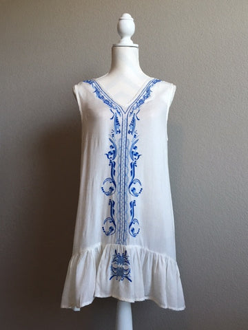 Blue and White Embroidered Stripe Tunic