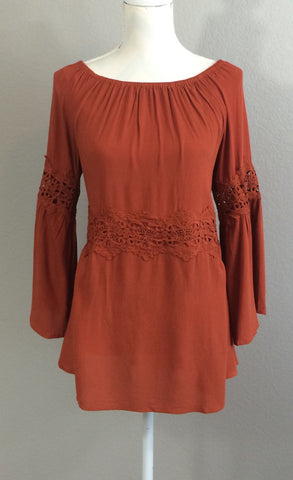 Warm Color Off the Shoulder Tunic with Lace