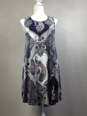 Blue Paisley A-Line Dress