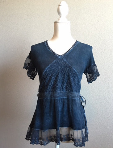 Denim Top with Lace