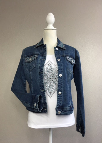 Denim Mint Swarovski Jacket