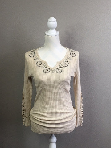 Khaki Ribbed Long Sleeve Tee with Studs and Lace