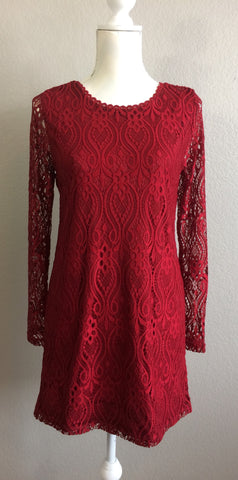 Wine Long Sleeve Lace Dress
