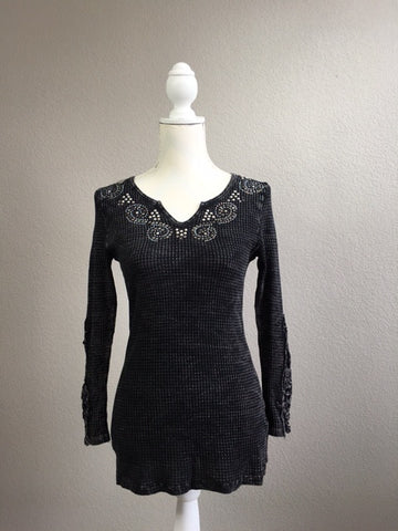 Black Wash Long Sleeve Tee with Studs and Lace