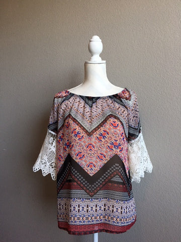Boho Black/Red Multi Print with Lace Top
