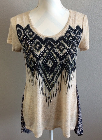Tribal Navy-Blue Semi Sheer Top with Crystals
