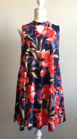 Shades of Blue and Red Floral Tunic Dress