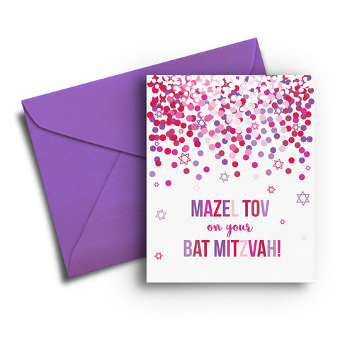 Confetti Bat Mitzvah Card