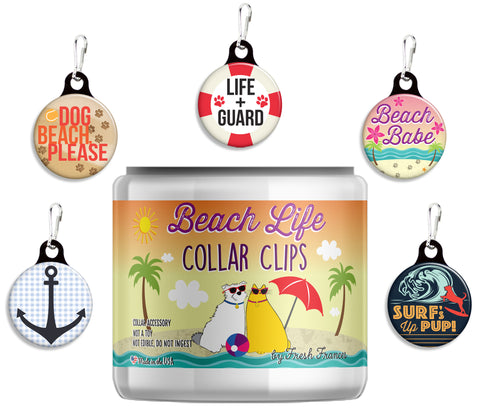 Beach Life Collar Clips Jar