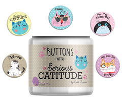 Catitude Button Jar