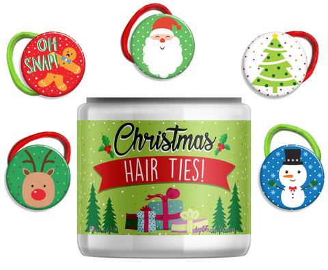 Christmas Hair Ties Jar