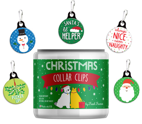 Christmas Collar Clips Jar