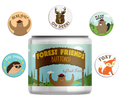 Forest Friends Button Jar