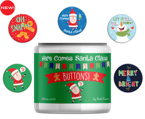 Here Comes Santa Claus Button Jar