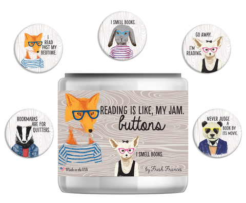 Hipster Readers Button Jar
