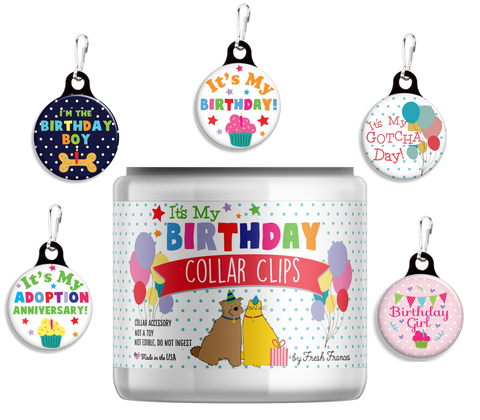 Birthday Collar Clips Jar