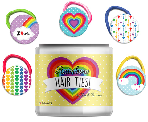 Rainbow Hair Ties Jar