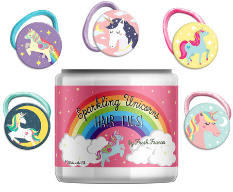 Sparkling Unicorns Hair Ties Jar