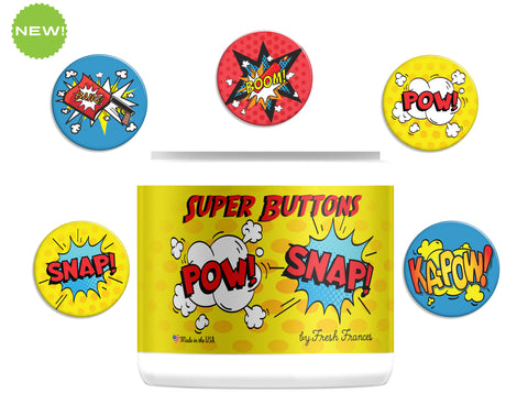 Superhero Comic Buttons