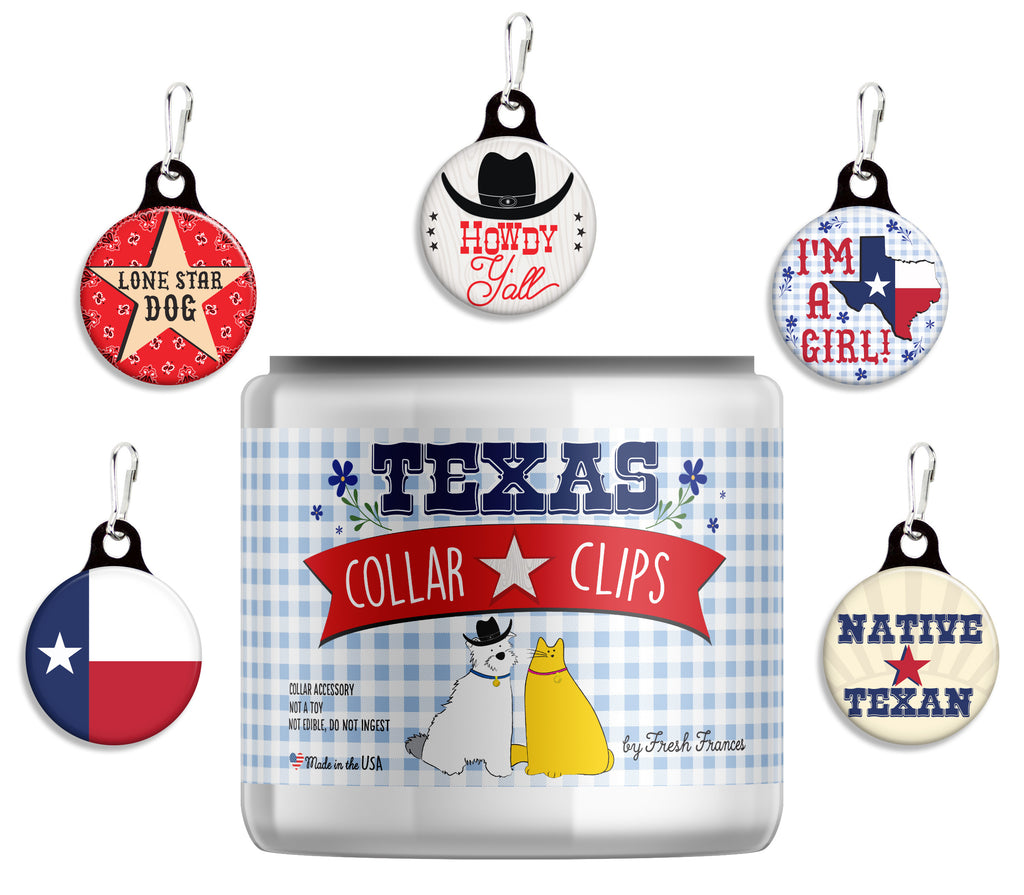 Texas Collar Clips Jar