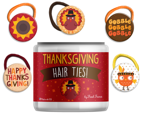 Thanksgiving Hair Ties Jar