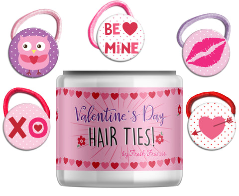 Valentine Hair Ties Jar
