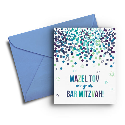 Confetti Bar Mitzvah Card