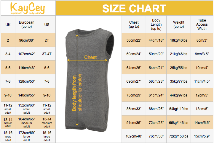 Kaycey supersoft bodysuits vests for older children with special needs