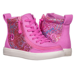 Billy Footwear (Kids)  - High Top Pink Glitter Canvas Shoes