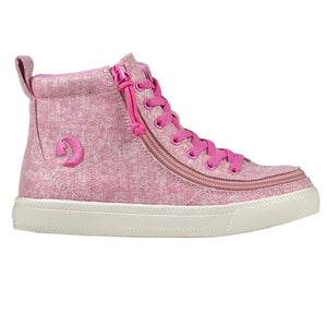billy_footwear_adaptive_shoes_for_children_special_kids_company_billy_kids_high_top_heather_pink_canvas_shoes_side