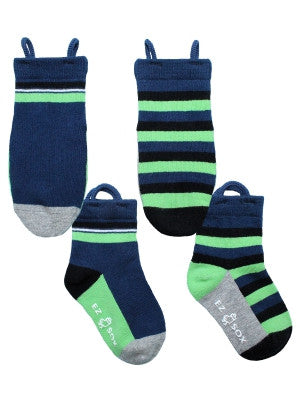 Blue Solid & Stripe Socks - 2 Pair Pack