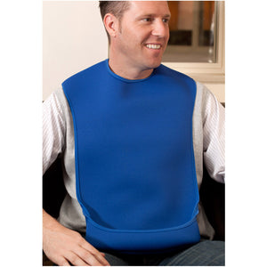 CareDesign_large_tabard_for_special_needs_adult_male_wearing_a_blue_bib_with_feeding_pouch