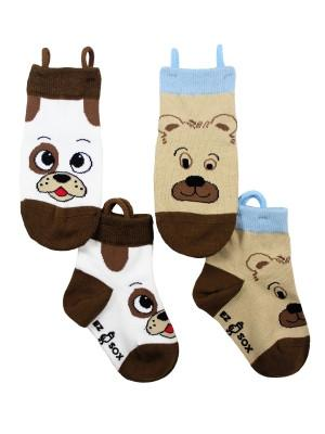 Ez_Socks_for_special_needs_toddlers_children_seamless_toes_anti_slip_pull_up_loops_animals_brown_boys