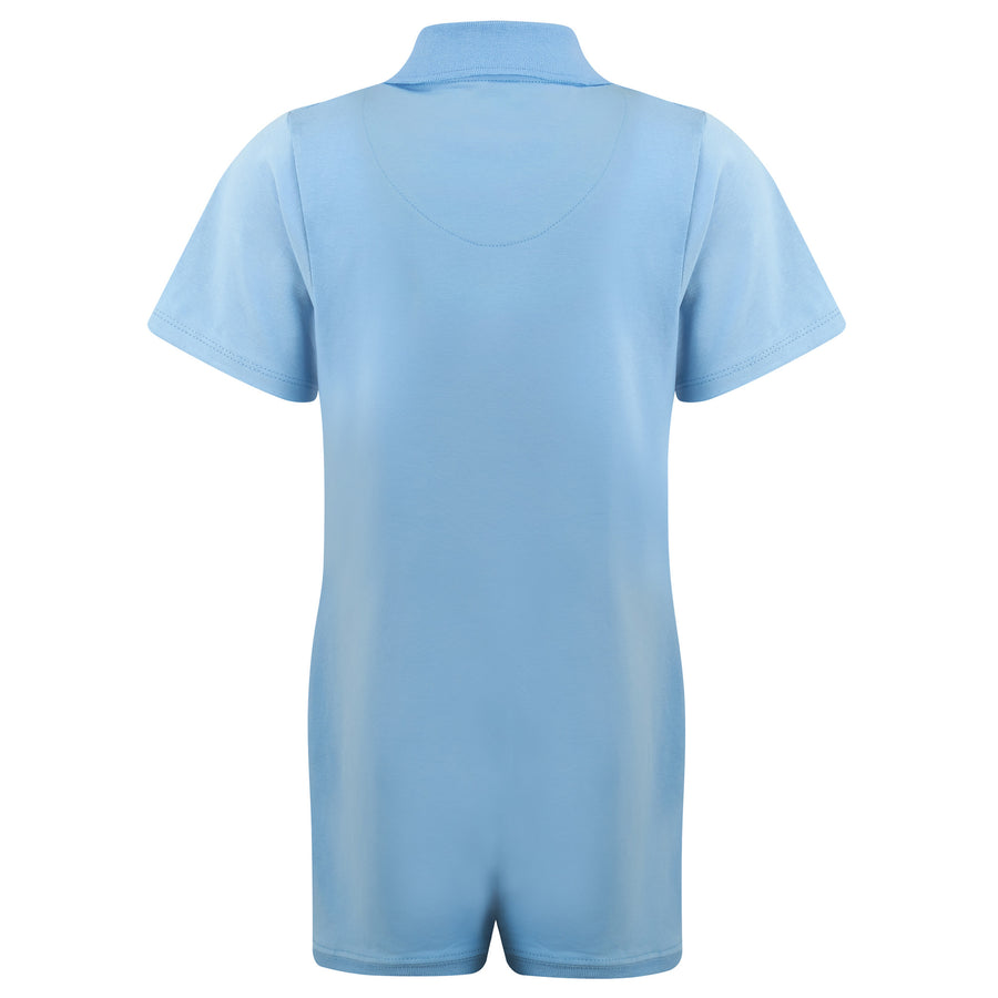 KayCey_Adaptive_clothing_for_older_children_with_special_needs_Polo_with_Tube_Access_Blue_Front