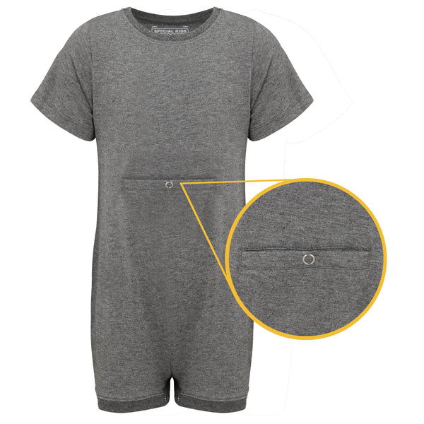 KayCey_Adaptive_clothing_for_older_children_with_special_needs_Short_Sleeve_with_Tube_Access_Grey_Front