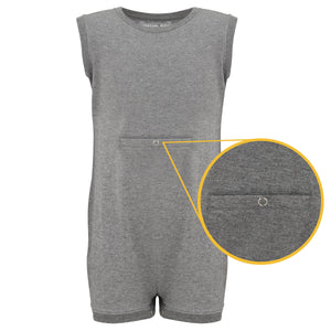 KayCey_Adaptive_clothing_for_older_children_with_special_needs_Sleeveless_with_Tube_Access_Grey_Front
