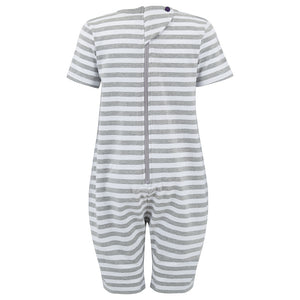 KayCey_short_sleeve_jumpsuit_for_older_children_with_special_needs_Zip_Back_Grey_White_Stripe_Back