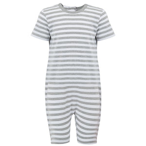 KayCey_short_sleeve_jumpsuit_for_older_children_with_special_needs_Zip_Back_Grey_White_Stripe_Front