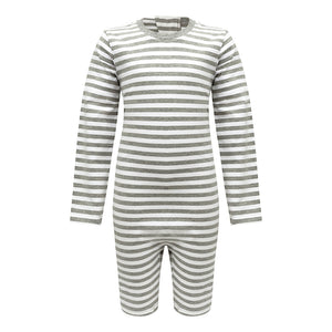 KayCey_long_sleeve_jumpsuit_for_special_needs_kids_and_older_children_zip_back_grey_white_stripe_front