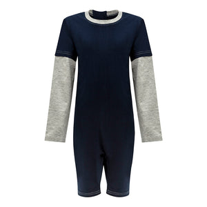 KayCey_long_sleeve_jumpsuit_for_special_needs_kids_and_older_children_zip_back_grey_navy_front