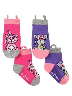 Ez_Socks_for_special_needs_toddlers_children_seamless_toes_anti_slip_pull_up_loops_pink_purple_girls