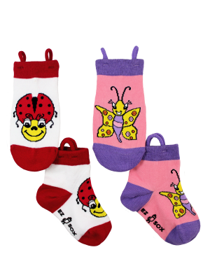 Ez_Socks_for_special_needs_toddlers_children_seamless_toes_anti_slip_pull_up_loops_ladybird_butterfly_girls