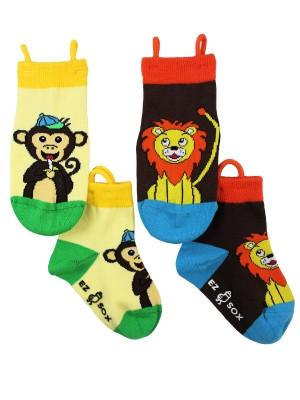 Ez_Socks_for_special_needs_toddlers_children_seamless_toes_anti_slip_pull_up_loops_monkey_lion_boys