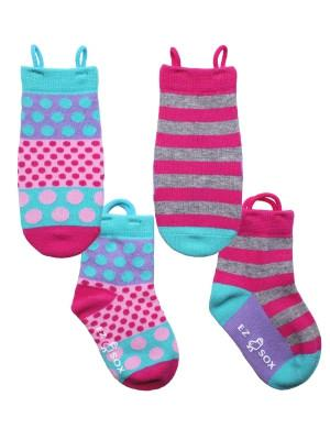 Ez_Socks_for_special_needs_toddlers_children_seamless_toes_anti_slip_pull_up_loops_pink_spot_stripe_girls