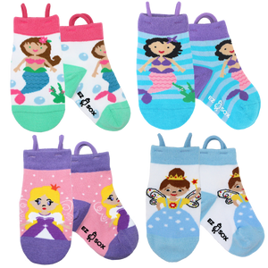 Ez_Socks_for_special_needs_toddlers_children_seamless_toes_anti_slip_pull_up_loops_princess_mermaid_fairy