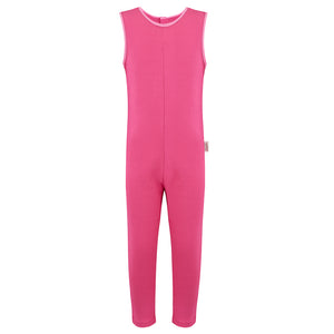 Scratch_sleeves_ankle_length_dungarees_to_stop_scratching_girls_pink_front_adaptable_clothing