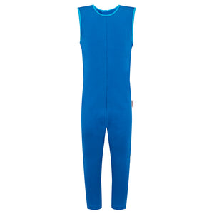 Scratch_sleeves_ankle_length_dungarees_to_stop_scratching_boys_blue_front_adaptable_clothing